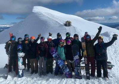 Cat skiers and boarders